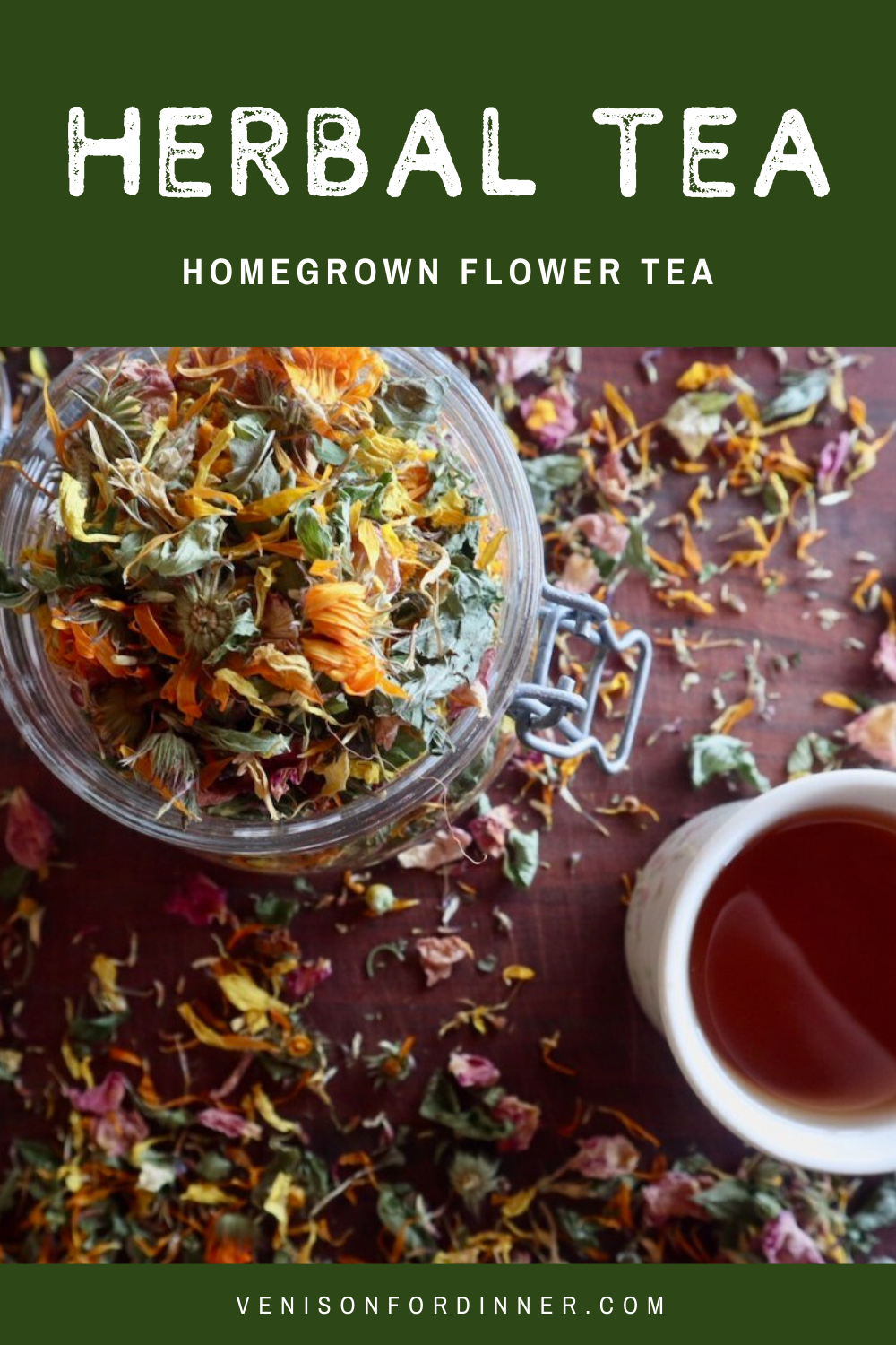 homemade herbal flower tea