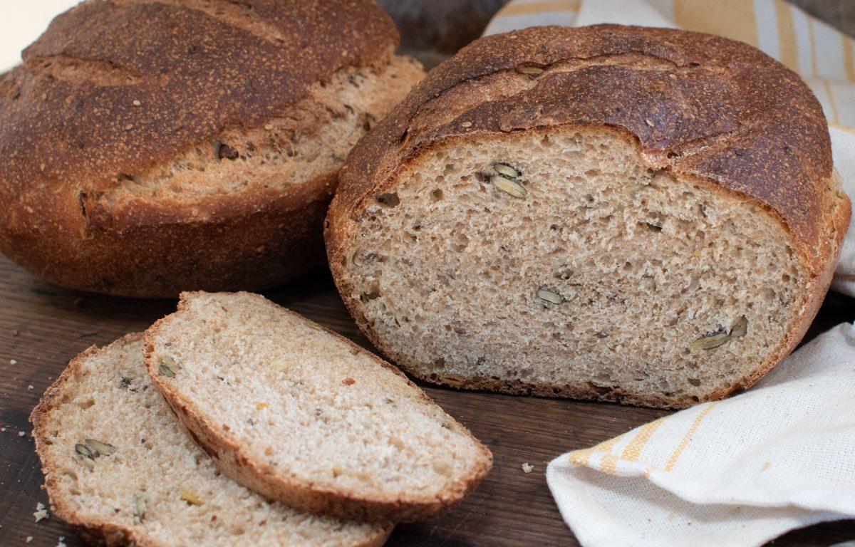 Seedy Whole-Wheaty Sourdough Sandwich Bread