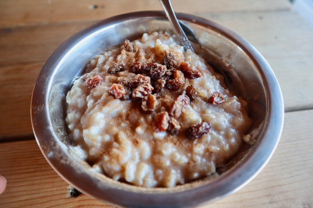 Silver bowl with a heaping serving of brown rice pudding topped with raisins and cinnamon.