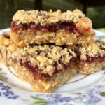 Side view of layered oatmeal jam bars on a pretty floral plate.
