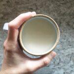Mug of tea made with homemade chai syrup.