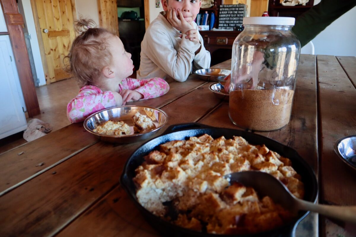 Kids at the table with servings of baked French toast.